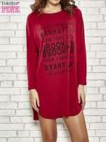 Bordowa sukienka z napisem NEW YORK CITY                                                                          zdj.                                                                         1