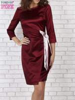 Bordowa sukienka ze srebrną kokardą                                   zdj.                                  4