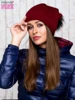 Bordowa wełniana czapka z futrzanym pomponem                                   zdj.                                  1