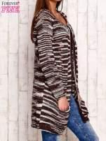 Bordowy otwarty melanżowy sweter                                   zdj.                                  3