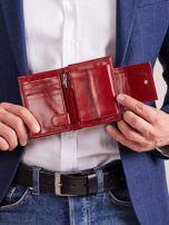 Bordowy skórzany portfel z klapką                                  zdj.                                  3