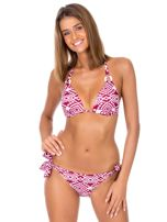 Bordowy strój kąpielowy bikini w geometryczne wzory                                  zdj.                                  1