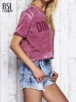 Bordowy t-shirt cropped DIMEPIECE                                  zdj.                                  5