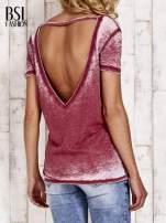 Bordowy t-shirt efekt acid wash                                  zdj.                                  4