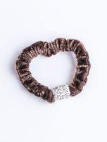 Brązowa atłasowa nieplącząca włosów gumka z cyrkoniami                                  zdj.                                  1