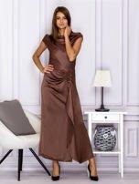 Brązowa długa sukienka z falbaną                                  zdj.                                  4