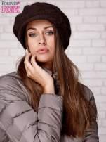 Brązowa dziergana czapka z daszkiem                                  zdj.                                  3
