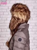 Brązowa futrzana czapka z pomponami                                  zdj.                                  3