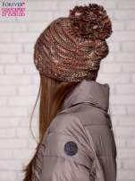 Brązowa melanżowa czapka z pomponem                                                                          zdj.                                                                         2