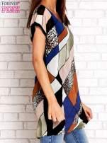 Brązowa patchworkowa tunika mgiełka o luźnym kroju