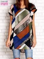 Brązowa patchworkowa tunika mgiełka o luźnym kroju                                  zdj.                                  1