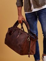 Brązowa skórzana męska torba podróżna                                  zdj.                                  14
