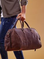 a32d86b2487ad Brązowa skórzana męska torba podróżna - Mężczyźni Torba męska ...