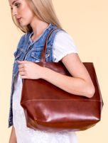 Brązowa skórzana torba damska z ozdobnymi okuciami                                  zdj.                                  4