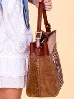 Brązowa skórzana torba z motywem skóry krokodyla                                  zdj.                                  5