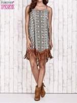 Brązowa sukienka w etniczne wzory z frędzlami                                  zdj.                                  5