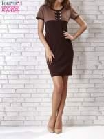 Ciemnobrązowa sukienka ze złotymi guzikami                                                                          zdj.                                                                         2