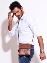 Brązowa torba męska z kieszonką na suwak                                  zdj.                                  3
