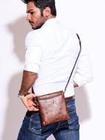 Brązowa torba męska z kieszonką na suwak                                  zdj.                                  5