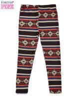Brązowe legginsy dziewczęce z zimowym wzorkiem                                                                          zdj.                                                                         1