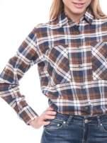 Brązowo-granatowa bawełniana dłuższa koszula w kratę