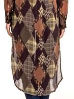 Brązowo-pomarańczowa długa koszula mgiełka w patchworkowy print                                                                          zdj.                                                                         4