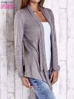 Brązowy długi sweter z wykończeniem w prążki                                  zdj.                                  3