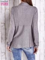 Brązowy długi sweter z wykończeniem w prążki                                  zdj.                                  4