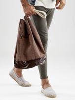 Brązowy materiałowy plecak worek męski                                  zdj.                                  3