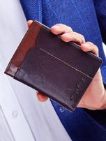 Brązowy portfel dla mężczyzny z ozdobnym wykończeniem                                  zdj.                                  1