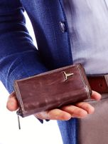 Brązowy portfel dla mężczyzny zapinany na suwak                                  zdj.                                  4
