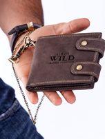 Brązowy portfel męski skórzany z łańcuszkiem                                  zdj.                                  2