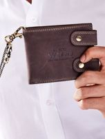 Brązowy portfel męski skórzany z łańcuszkiem                                  zdj.                                  3