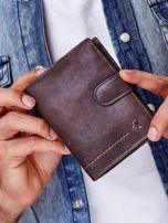 Brązowy rozkładany portfel ze skóry                                  zdj.                                  1