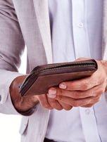 Brązowy skórzany portfel dla mężczyzny z zapięciem na suwak                                  zdj.                                  5