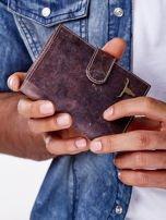 Brązowy skórzany portfel męski z zapięciem na zatrzask                                  zdj.                                  7