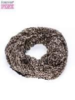 Brązowy szalik bouclé z frędzlami                                  zdj.                                  3