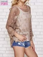 Brązowy szydełkowy sweterek z rozszerzanymi rękawami                                  zdj.                                  3
