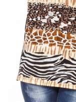 Brązowy t-shirt z motywem zwierzęcym
