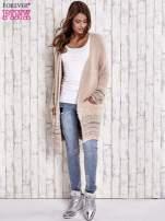 Brzoskwiniowy długi włochaty sweter z kolorową nitką                                                                          zdj.                                                                         2