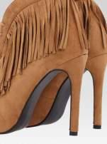 Camelowe sznurowane botki open toe z frędzlami                                                                          zdj.                                                                         8