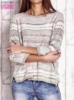 Camelowy dziergany sweter z rękawem 3/4                                  zdj.                                  1
