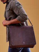 Ciemnobrązowa torba męska na ramię ze skóry naturalnej                                  zdj.                                  8