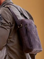 Ciemnobrązowa torba męska skórzana na ramię                                  zdj.                                  4