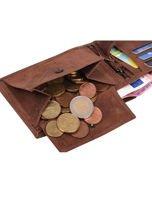 Ciemnobrązowy portfel męski ze skóry z emblematem                                   zdj.                                  6
