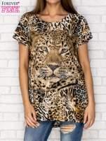 Ciemnobrązowy t-shirt z nadrukiem pantery z dżetami                                  zdj.                                  1