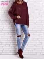 Ciemnoczerwony sweter oversize z rozcięciami po bokach                                  zdj.                                  9