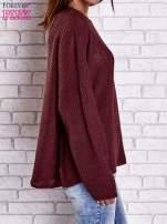 Ciemnoczerwony sweter oversize z rozcięciami po bokach                                  zdj.                                  5