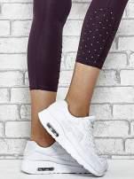 Niebieskie legginsy sportowe z aplikacją z dżetów na nogawkach                                                                          zdj.                                                                         6