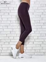 Ciemnofioletowe legginsy sportowe z aplikacją z dżetów na nogawkach                                  zdj.                                  3